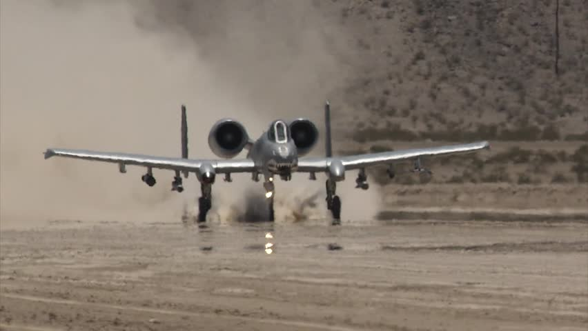 A-10 Warthog lands on dry lakebed