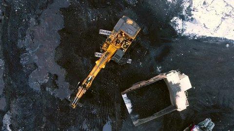 coal mining mine excavator truck open pit winter