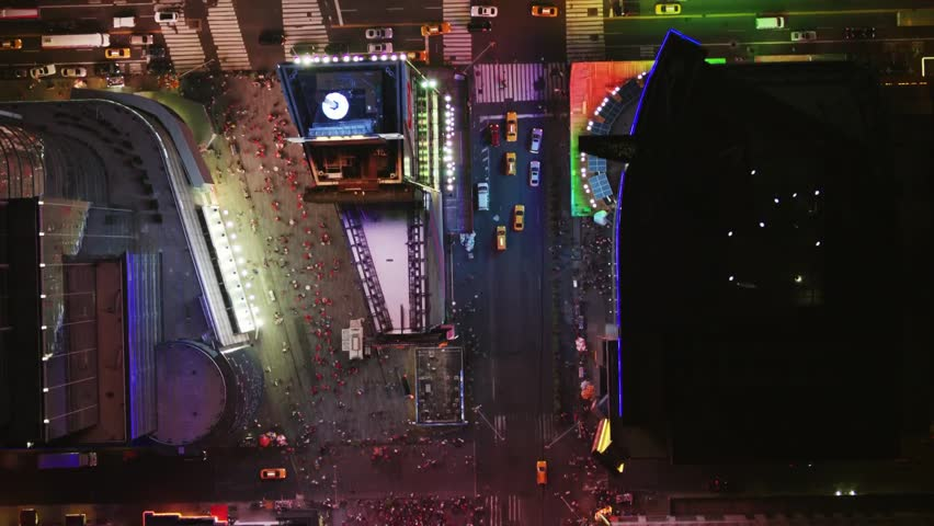 Aerial wide shot of the New York's traffic at night time | Shutterstock HD Video #1008903368