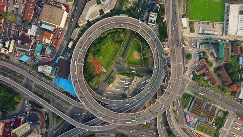 SHANGHAI, CHINA - SEPTEMBER 8, 2017: sunny day shanghai city famous traffic round road junction aerial top view 4k circa september 8 2017 shanghai, china.