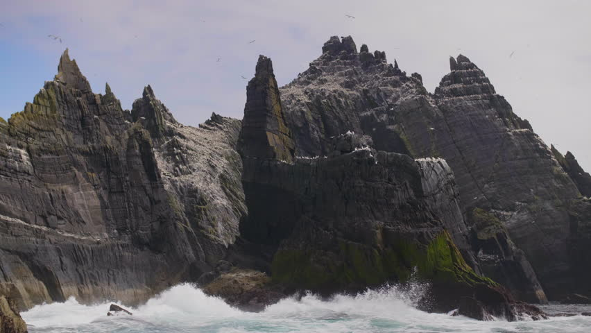 Skellig Michael Island And Waves Crashing On Its Rocky Shore | Shutterstock HD Video #1008920048