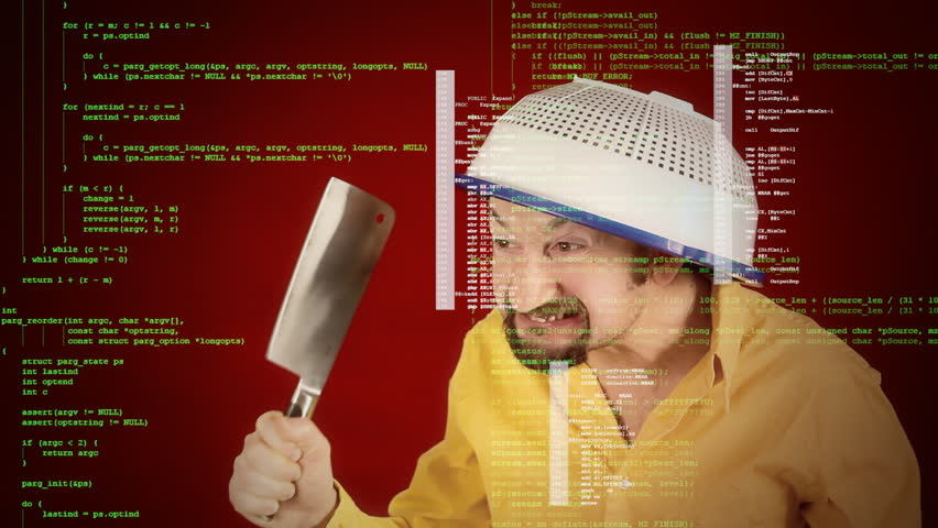 Source code (assembler instructions) scrolling over a scene: a funny ugly angry crazy man, with a colander on his head, menacing everybody with a sharp big knife.