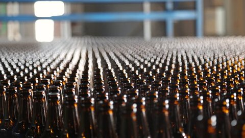 Beer bottle factory. Clean bottles are moving along the conveyor. Preparation of beer bottles for bottling and packaging. Empty brown bottles in a line in factory. Beer bottle production.