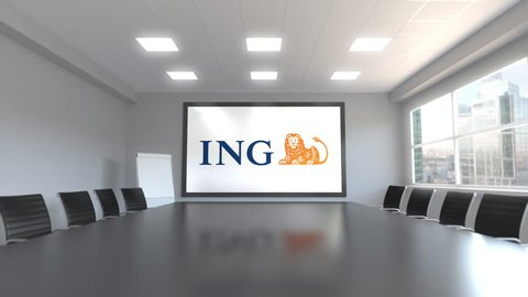 ING Group logo on the screen in a meeting room. Editorial 3D animation