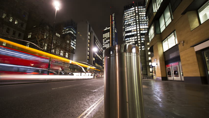 London, UK, March 16 2018. Slider timelapse of downtown street with car headlights rushing past in a blur | Shutterstock HD Video #1009020428