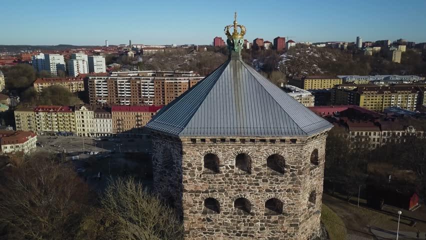 4k Aerial drone footage - Skansen Kronan fortress overlooking the city of Gothenburg Sweden