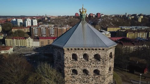 4k Aerial drone footage - Skansen Kronan fortress overlooking the city of Gothenburg Sweden