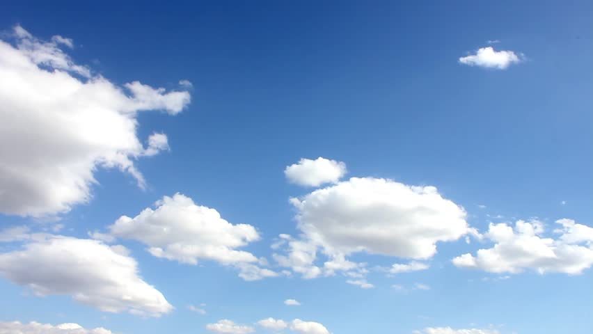 Sunny white clouds, blue clear sky. White Clouds & Blue Sky, Flight over clouds, loop-able, cloudscape, day, White clouds running over blue sky, Full HD, 1920x1080, 30FPS.