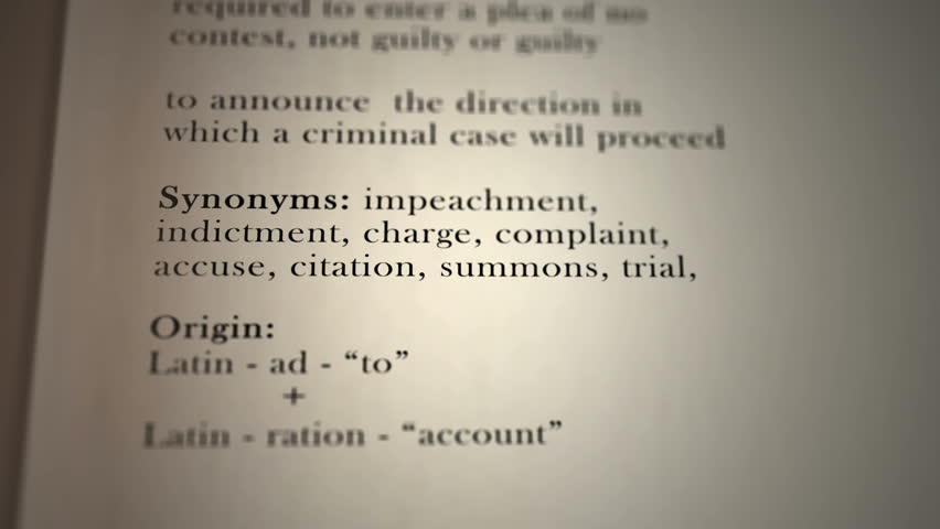 This animation includes a definition of the word arraignment.