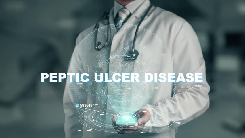 Doctor holding in hand Peptic Ulcer Disease