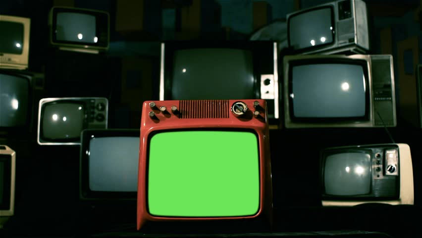Vintage Red Tv Green Screen with Many 1980s Tvs. Dolly In Shot. Blue Steel Color Tone. | Shutterstock HD Video #1009079108