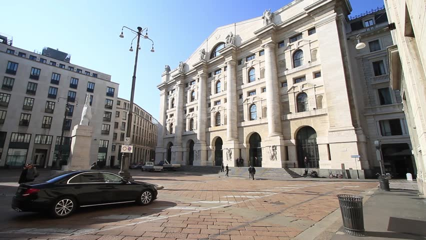 Milan, March 2018: Italian Stock Exchange (Borsa Italiana) also known as Piazza Affari ( Business Square ) , on March 2018 in Milan, Italy