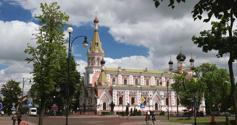 Grodno, Belarus. Cathedral Of Intercession Of Most Holy Theotokos In Street E. Ozheshko. Another Name Is Pokrovsky Cathedral Or Cathedral In Honor Of Protection Of Blessed Virgin
