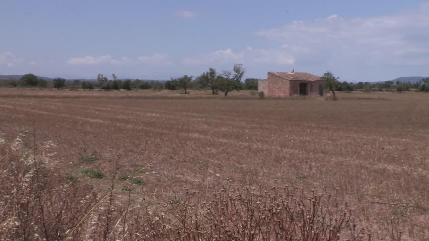 Field with framhouse on Mallorca, Spain