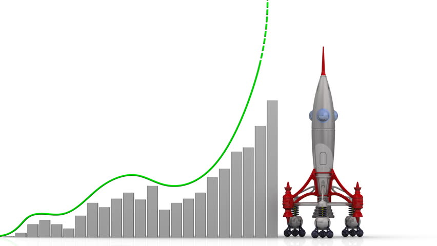 The graph of rating growth. Graph of rapid growth with word RATING (Russian language) and rocket launch. Footage video | Shutterstock HD Video #1009125098