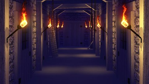 Render of movement along a dungeon with  flaming torches and jail to exit through an opening door to a green screen