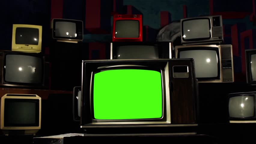 1980s Tv Green Screen in the Middle of Many Tvs. Color. Dolly Shot.  | Shutterstock HD Video #1009160558