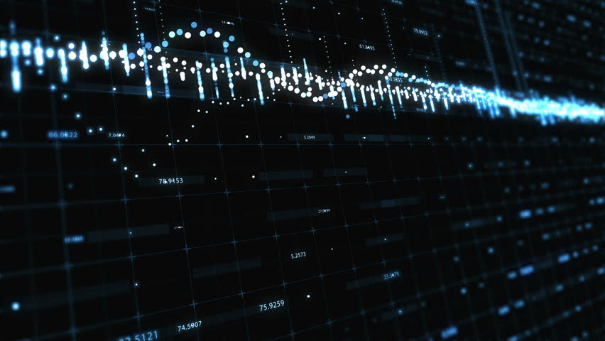 Abstract background with floating graph flowing counters of numbers and equalizer | Shutterstock HD Video #1009204958
