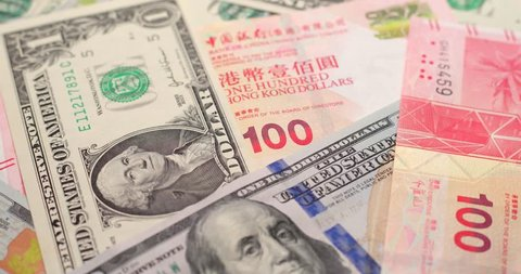 USD And HKD Paper Banknote In Spinning
