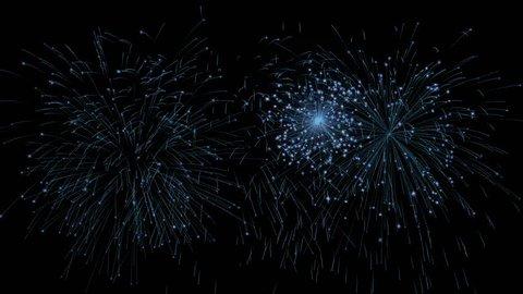 Blue fireworks isolated on black background + Alpha