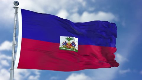 Haiti Flag in a Blue Sky. Use this clip loud and proud to express loyalty and love to our country. It is a seamless loop with luma channel.