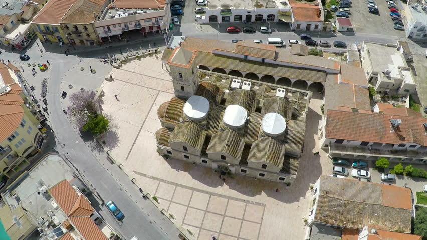 Birds flying over old Greek orthodox church of Saint Lazarus in Larnaca, Cyprus