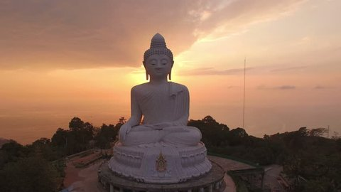 aerial view beautiful sunset Phuket Big Buddha is one of the island most important and revered landmarks on the island