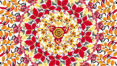 Khokhloma. Abstract fractal transformation background. Loopable. Painting Khokhloma Russia of bright red flowers and berries on white background. Abstract background of red polygons
