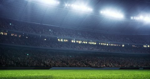 Professional sport stadium with gates and crowd. Stadium made in 3D.