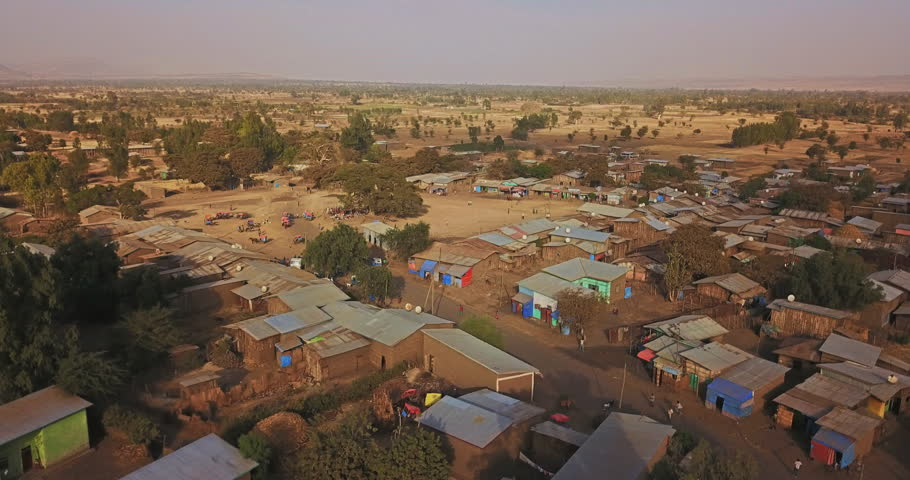 Aerial drone Somali Region of Ethiopia Butajira a small village rural community. Butajira is a town and separate woreda in south-central Ethiopia.