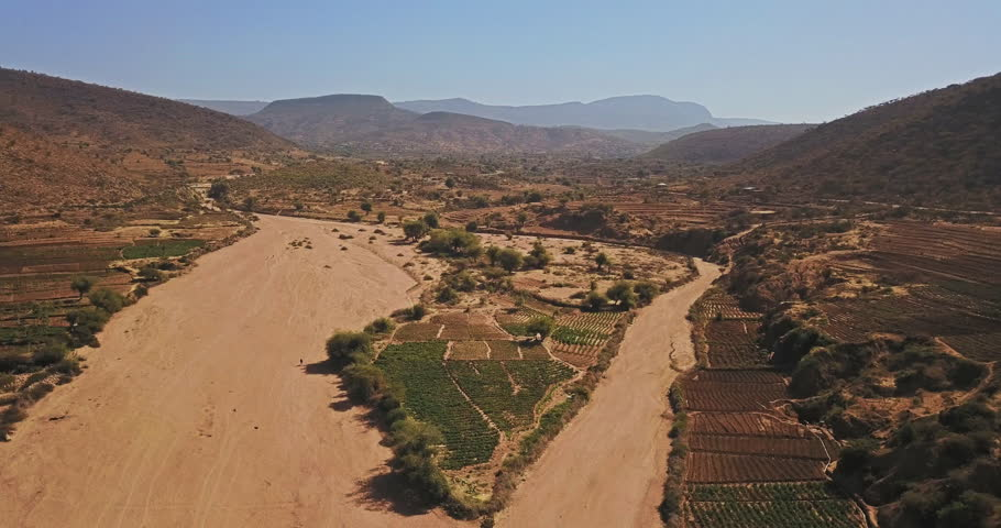 Aerial drone Somali desert Region of Ethiopia Butajira a small village rural community.The state borders the Ethiopian states of Afar, Dire  Dawa (Diridhawa), Oromia to the west, as well as Djibouti