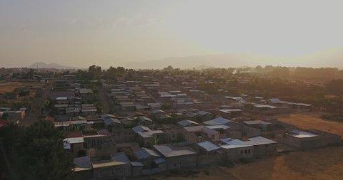 Aerial drone Somali Region of Ethiopia Butajira a small village rural community. Butajira is a town and separate woreda in south-central Ethiopia.