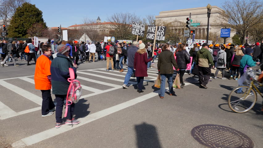 Washington, DC March 24, 2018. March of Our lives Protest in the streets, Washington DC, 3 Axis Gimbal