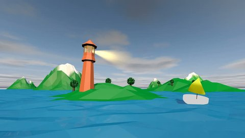 POV in a 3d rendering variant from an object moving fast around a brown lighthouse on a hilly green islet and a white boat with a sail at sunset. The low poly landscape looks fine.