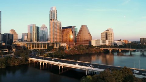 This is an an aerial shot of downtown Austin, Texas at sunset.