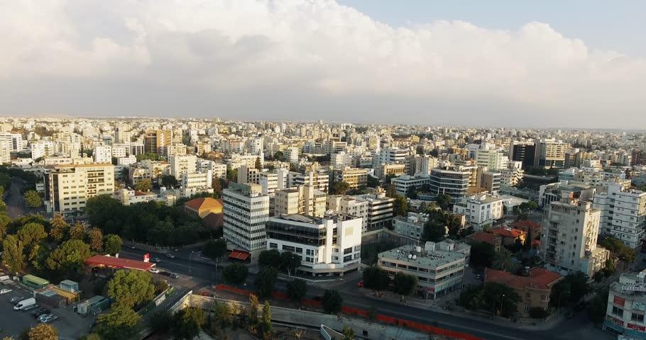 Aerial footage of Nicosia, Cyprus