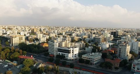 Aerial footage of Nicosia, Cyprus