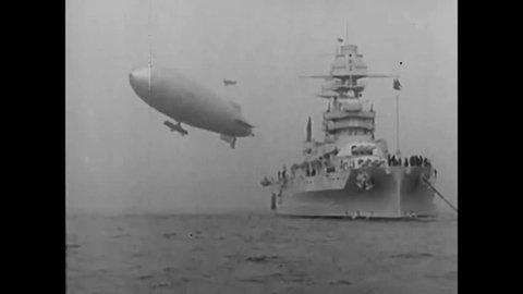CIRCA 1931 - The USS Arizona with President Hoover aboard sails through the Atlantic Ocean towards Puerto Rico.