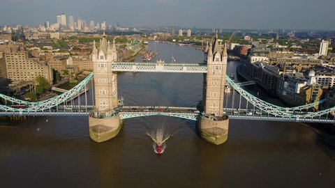 Amazing aerial view of the Tower bridge in London above river Thames
