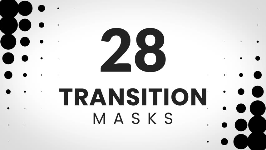 28 custom transition masks. Dotted pattern. Can be used for modern corporate presentation.