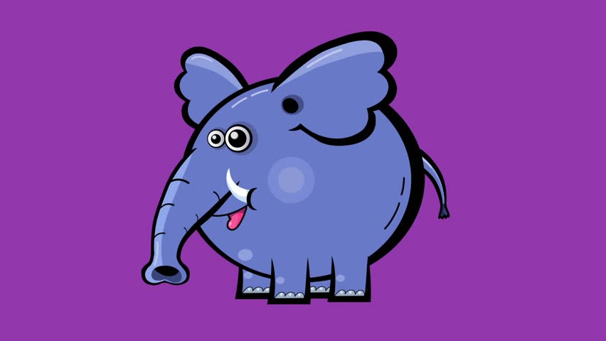 Cartoon elephant seamless transitions character with alpha – walking, sitting, standing