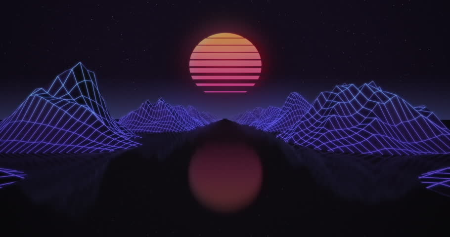 Retro futuristic motion graphics. Digital landscape moving in a cyber world. Retro Wave animation with sun, space, mountains and laser grid on terrain