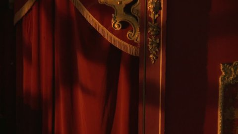 Ornamental gold wall patterns red velvet curtains carnival circus style