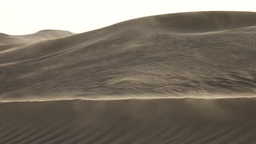 Sand blowing over sand dunes in wind, Sahara desert, 4k