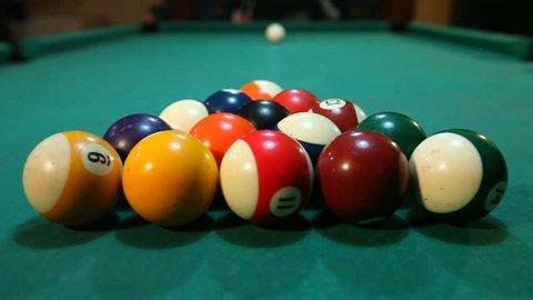 Billiard opening break shot ,american pool