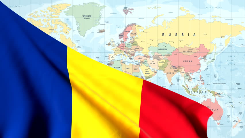 The waving flag of Romania opens up the view to the position of Romania on a colored world map