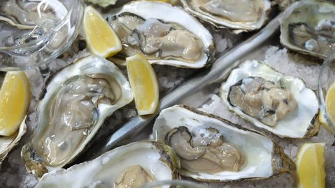 Super close-up of fresh oysters on a white plate with ice and wedges of lemons, restaurant dish, delicacy, aphrodisiac. Longitudinal movement of the chamber