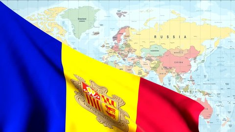 The waving flag of Andorra opens up the view to the position of Andorra on a colored world map
