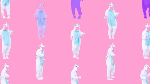 Minimal Motion design art. Dancing unicorn on pink