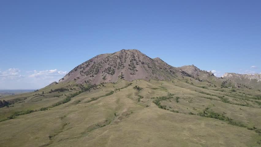 Prairie Sturgis Summer Hill Butte Erosion Gullies Mountain Landmark Sacred Site Indian Moving Gliding Aerial